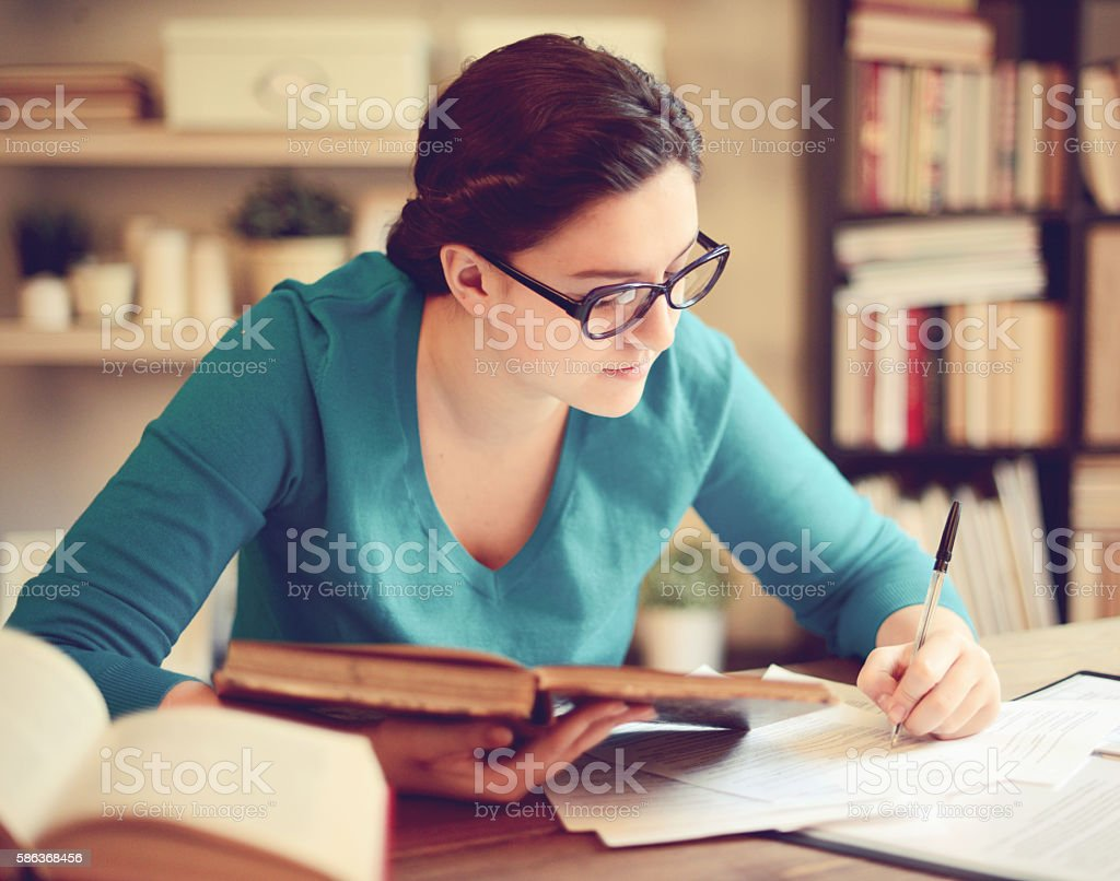 Girl student learning stock photo