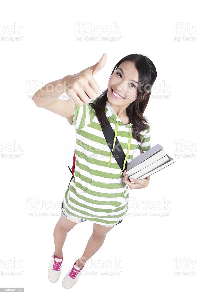 girl student thumbs up hand gesture royalty-free stock photo