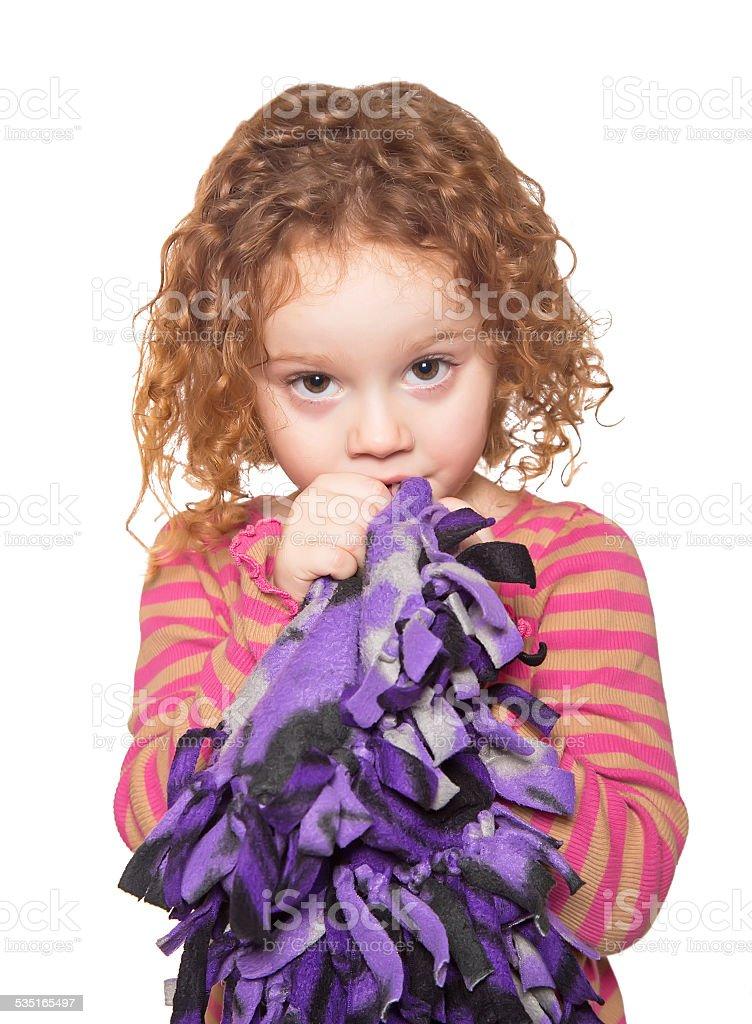 Girl Sucking Thumb With Blanket stock photo