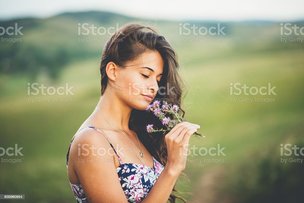 Girl summer portrait stock photo