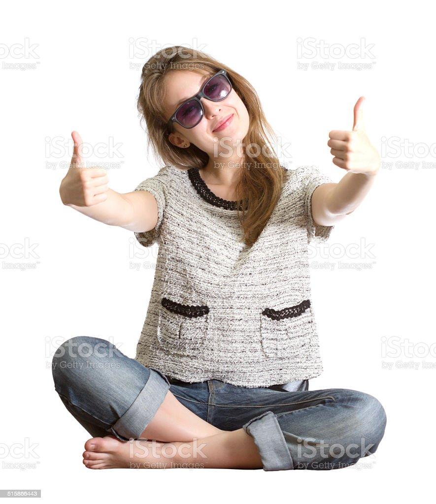 Girl sunglasses success isolated white stock photo