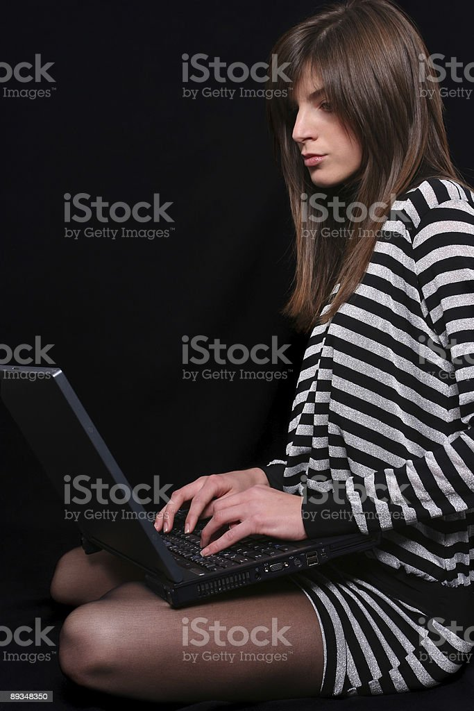 Girl surfing internet royalty-free stock photo
