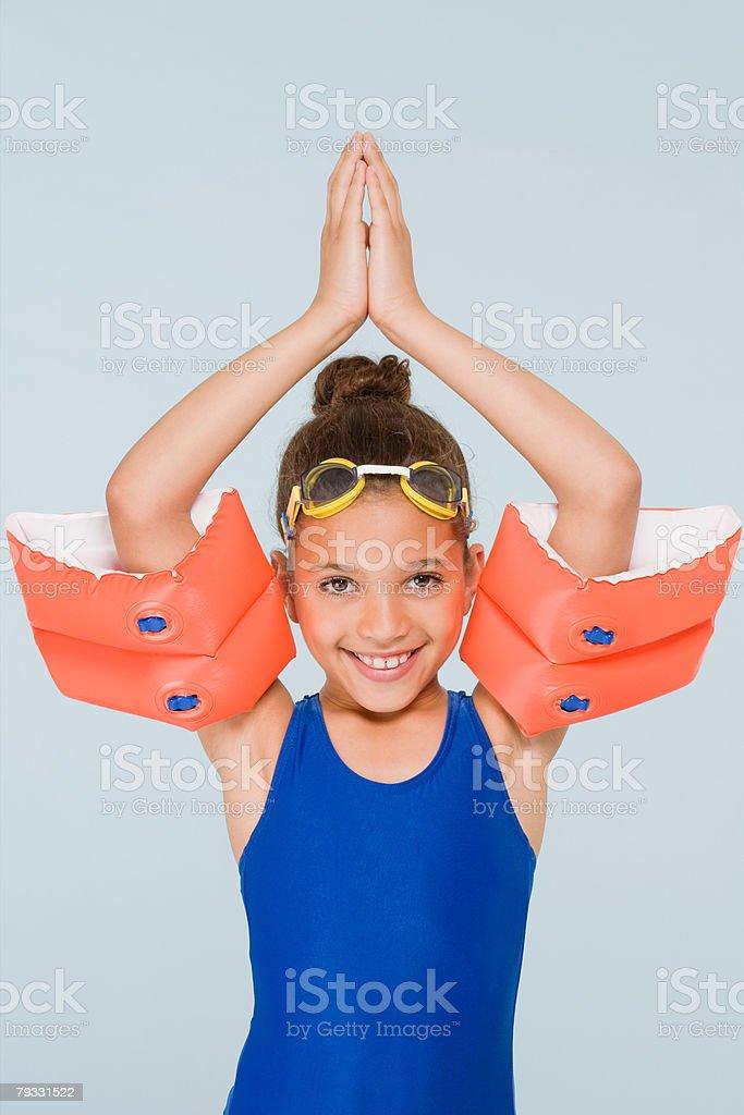 Girl swimmer stock photo