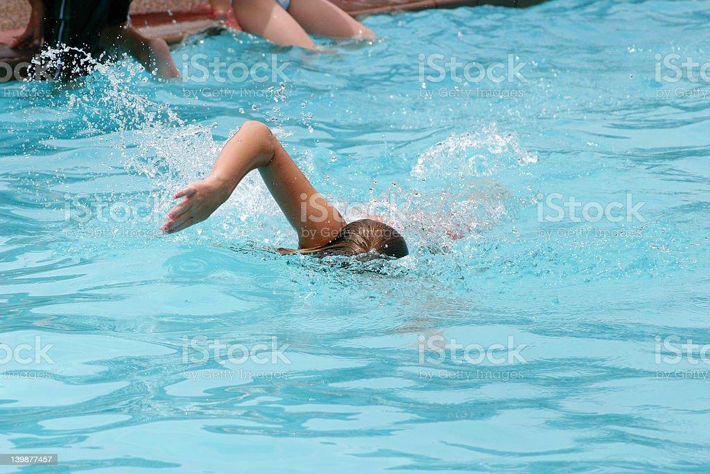 Girl, swimming in the pool stock photo