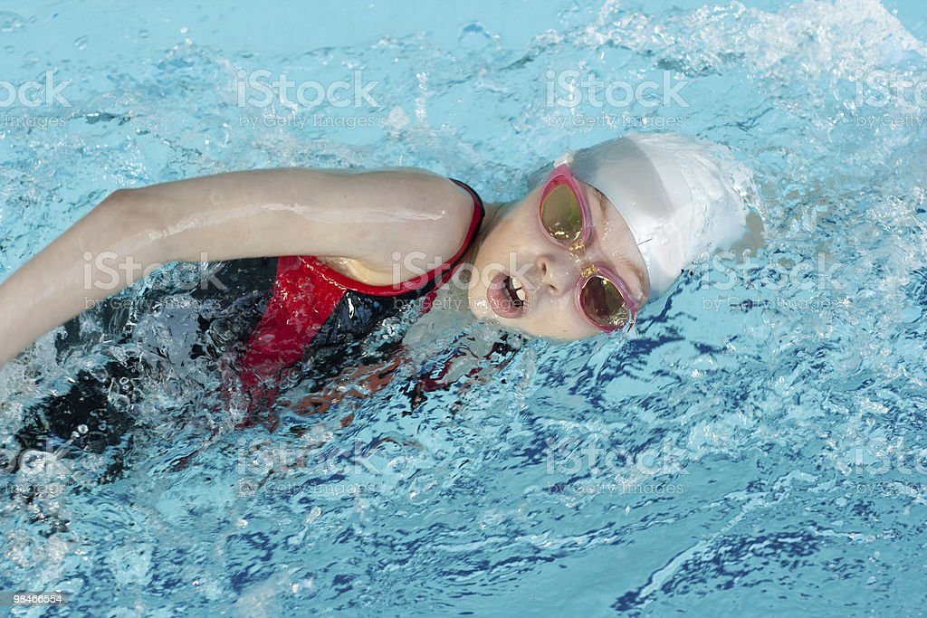 Girl swimming stroke closeup stock photo