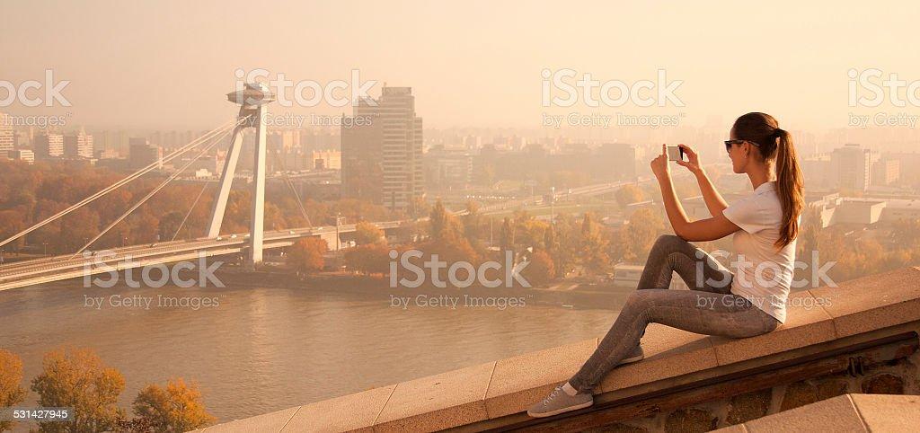 girl take picture Bratislava stock photo