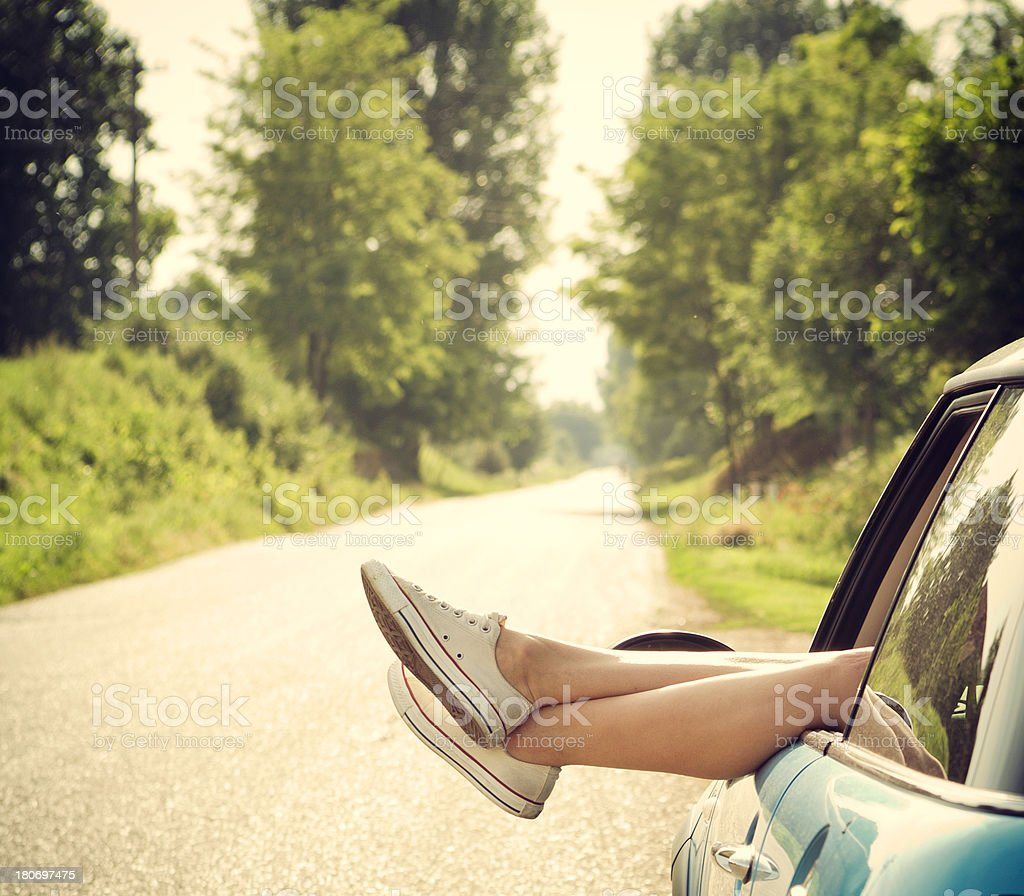 Girl Taking A Break While Traveling stock photo