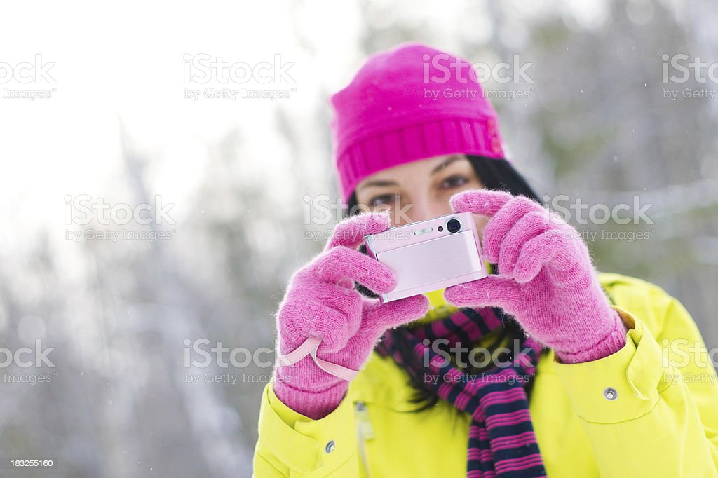 Girl taking a picture royalty-free stock photo