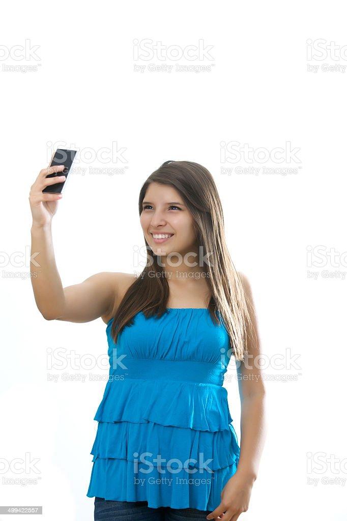 girl  taking a self portrait stock photo