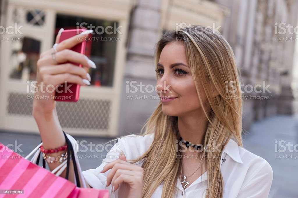 girl taking a selfie royalty-free stock photo