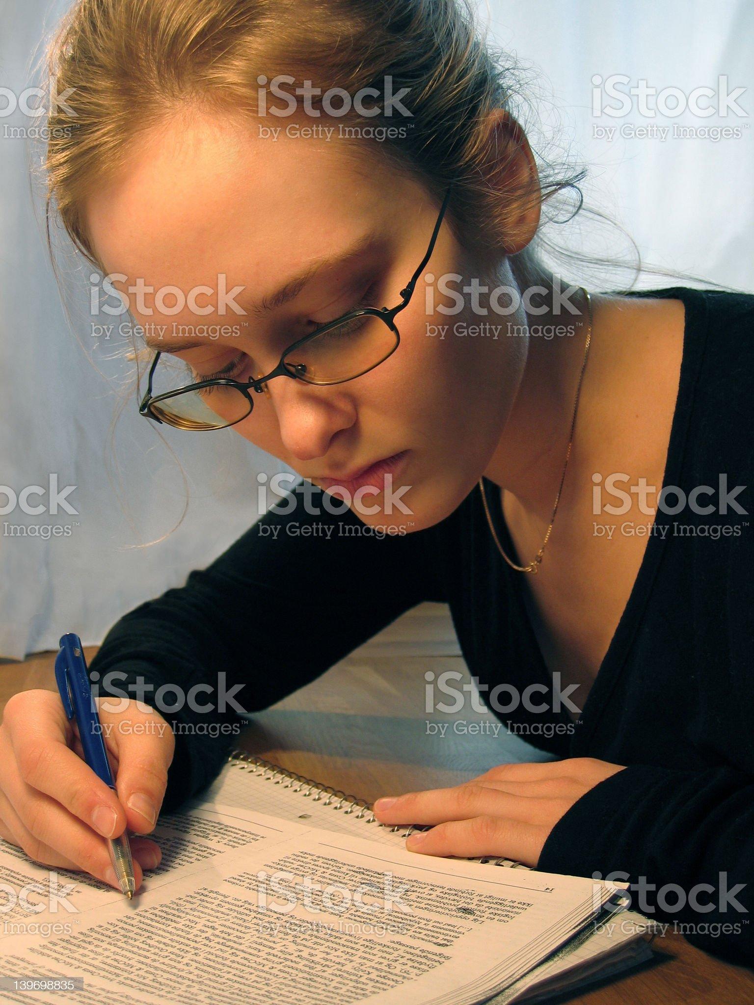 Girl Taking Notes royalty-free stock photo