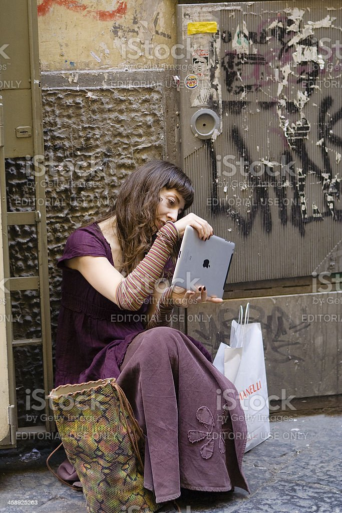 Girl Taking Photo and Video with Ipad royalty-free stock photo