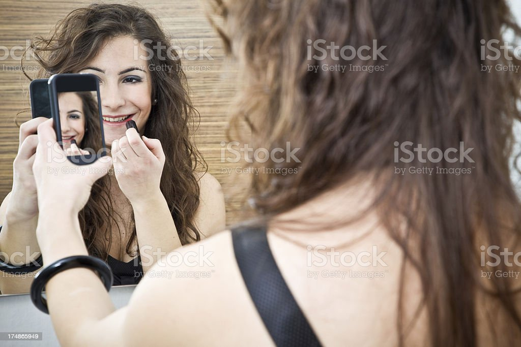 Girl Taking Pics With Mobile Phone stock photo