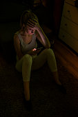 girl talking on smart phone be sad. Emotive face girls
