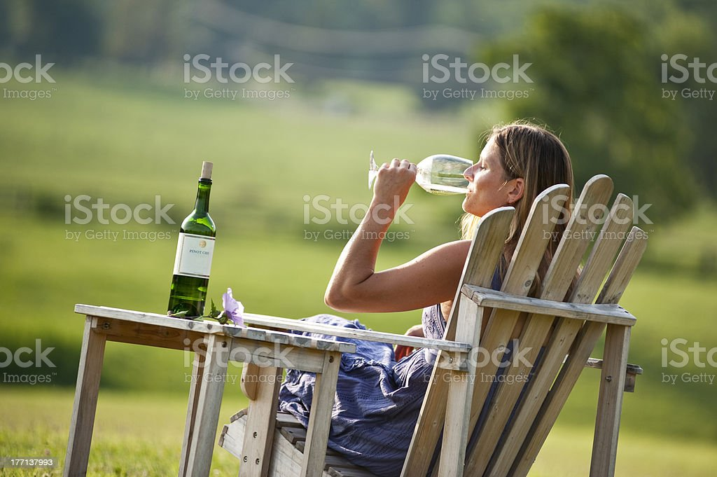 Girl Tasting Wine royalty-free stock photo