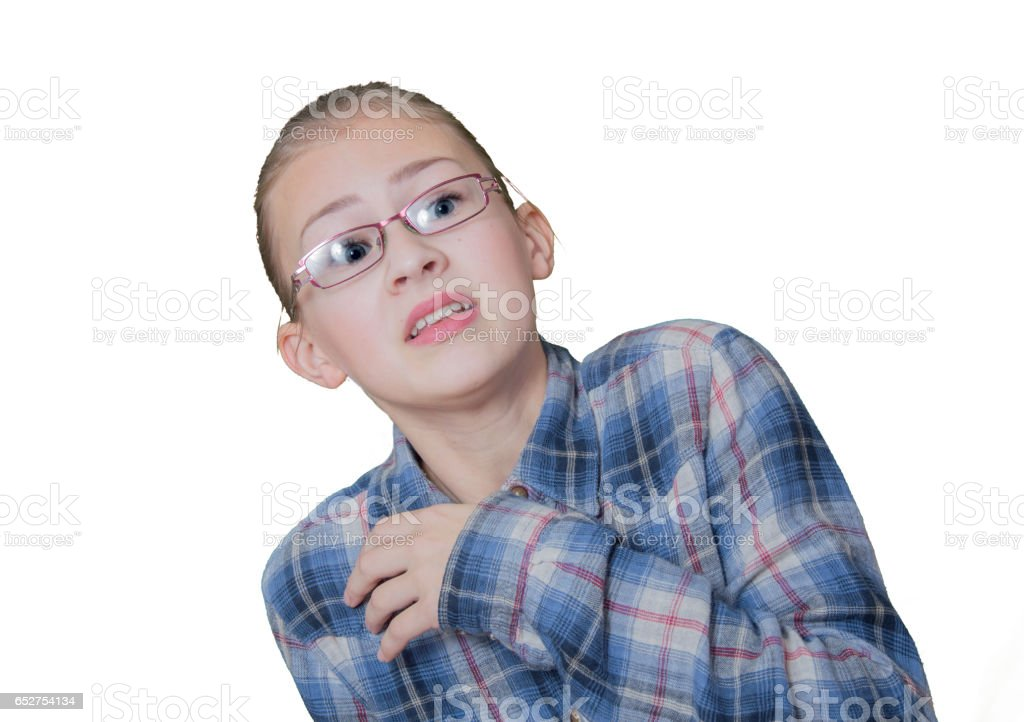 Girl teenager with a frightened face, stock photo