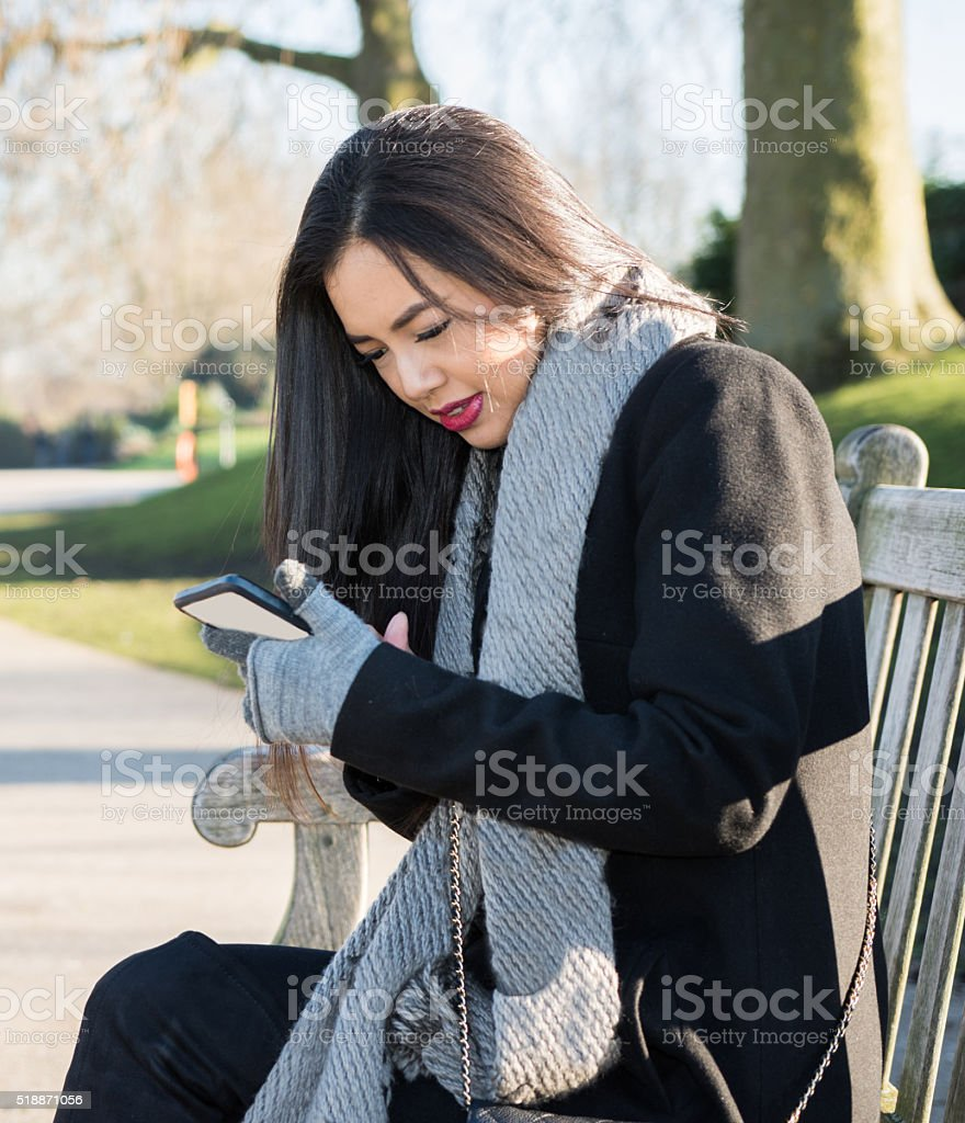 Girl texting stock photo