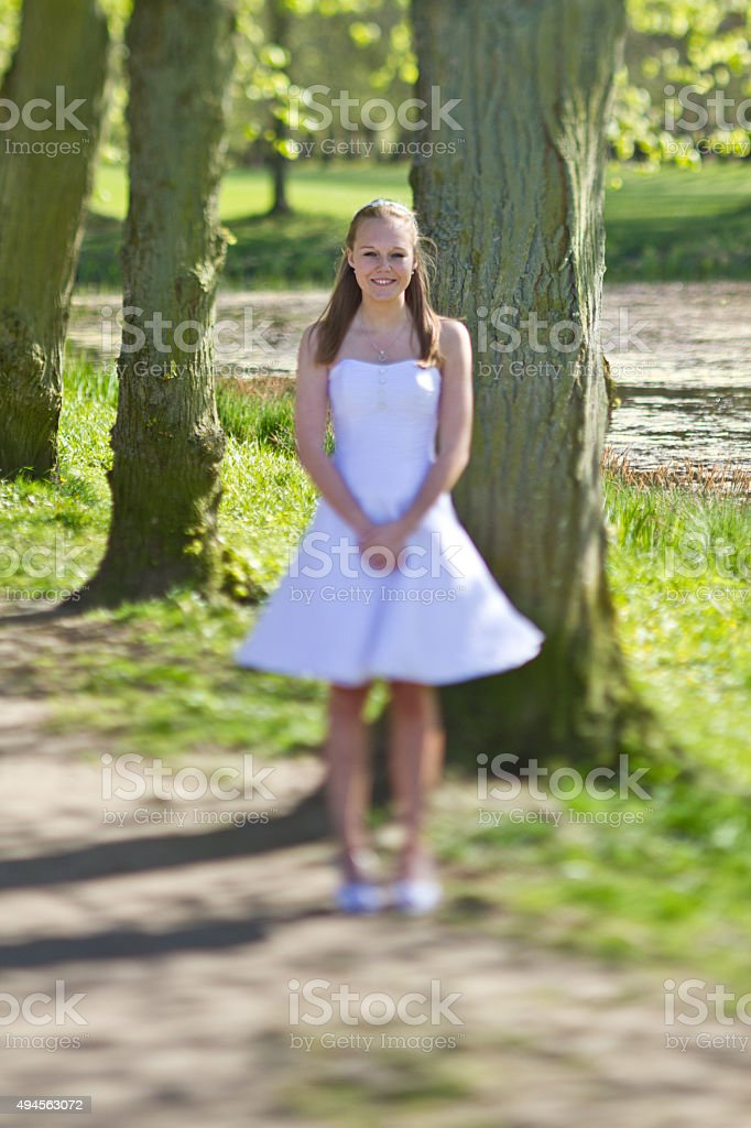 Girl the day of the confirmation stock photo