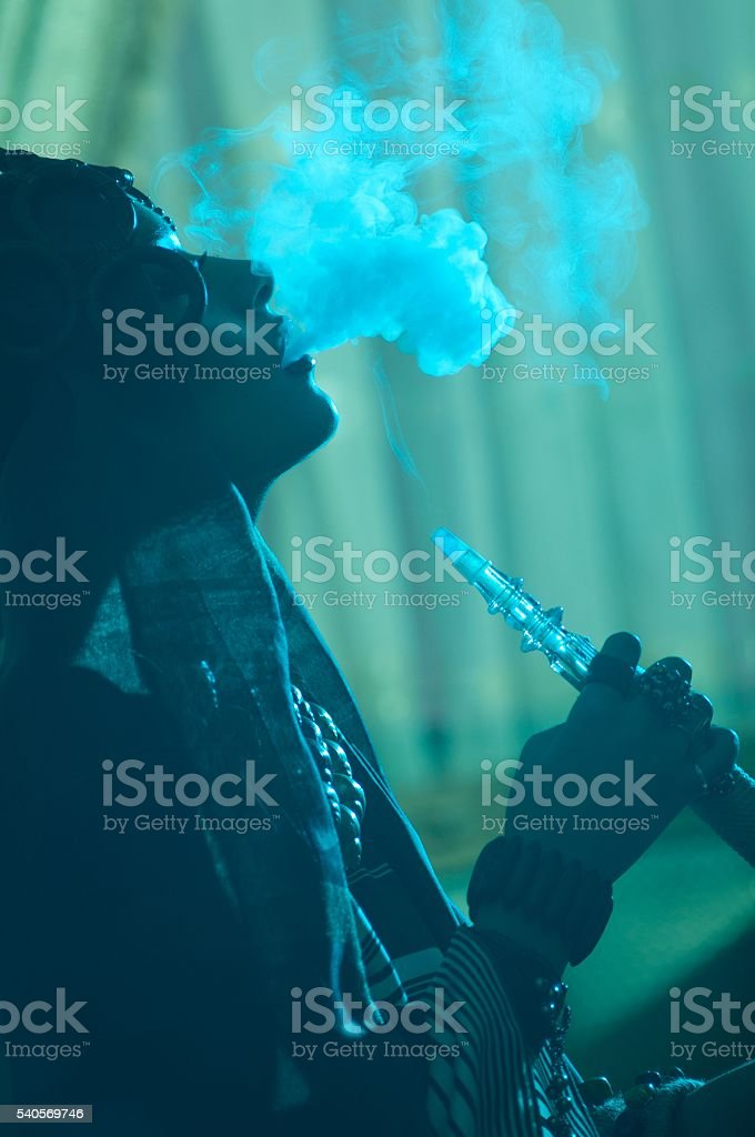 girl the smoke from the hookah stock photo