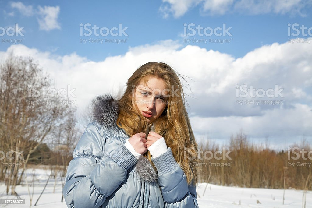 girl  the solar winter afternoon in park royalty-free stock photo
