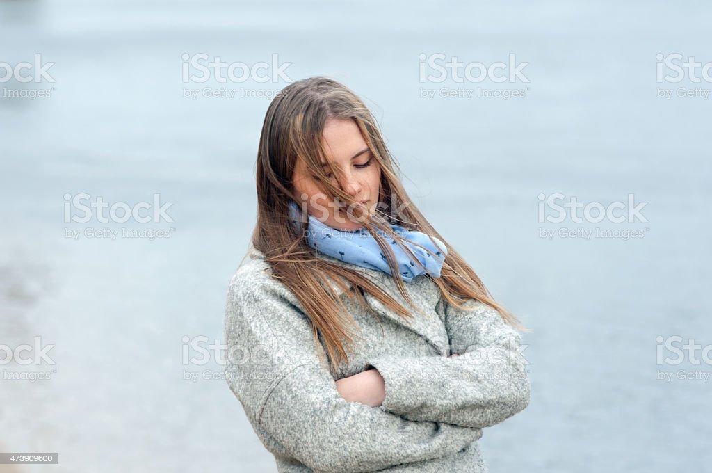 Girl pensamiento foto de stock libre de derechos