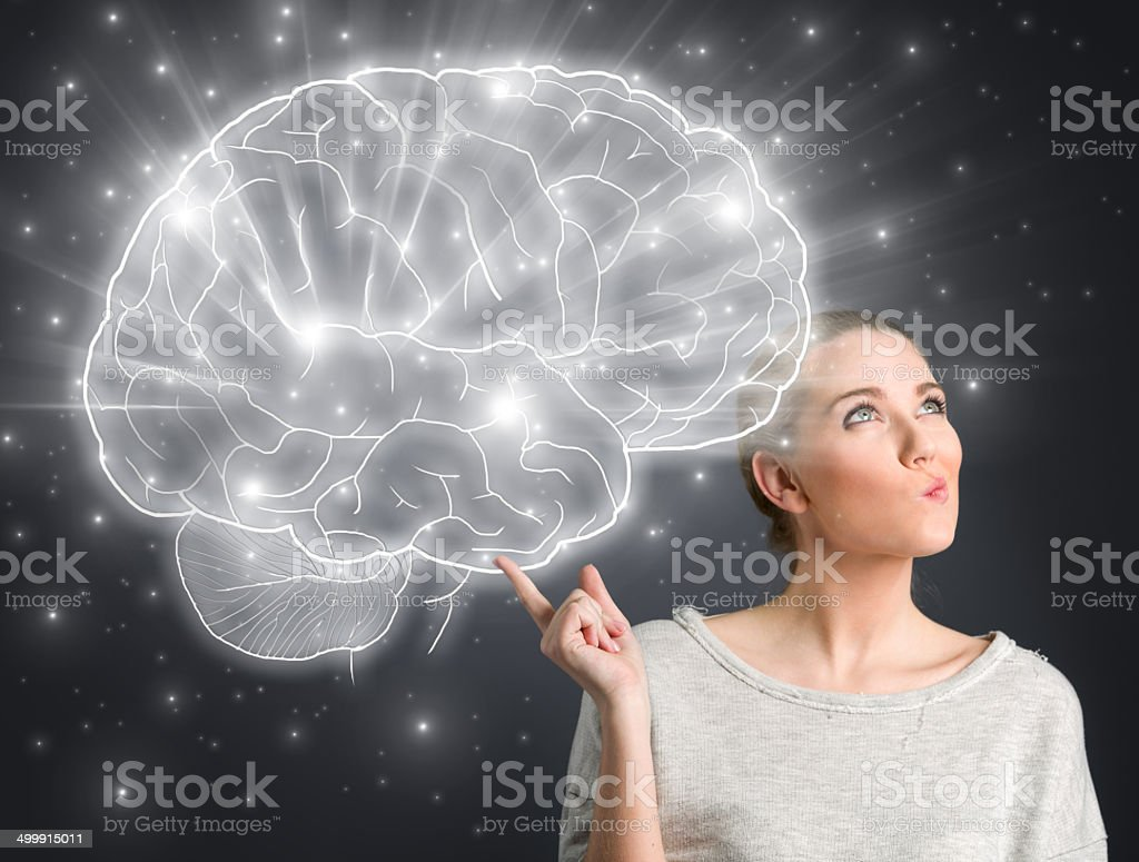 girl thinking stock photo