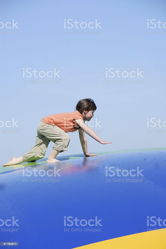 Girl  to walk on all fours royalty-free stock photo