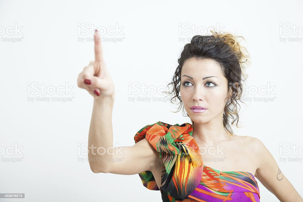 Girl touch screen stock photo