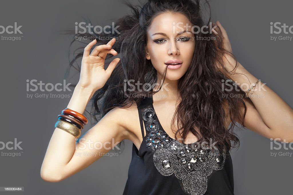 Girl touchig hair stock photo