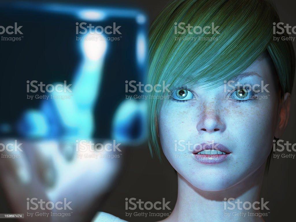 girl touching blue screen royalty-free stock photo