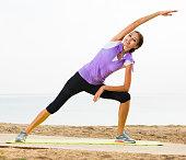 Girl training yoga poses