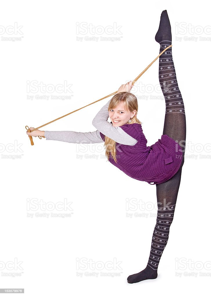 Girl trains with jump rope royalty-free stock photo