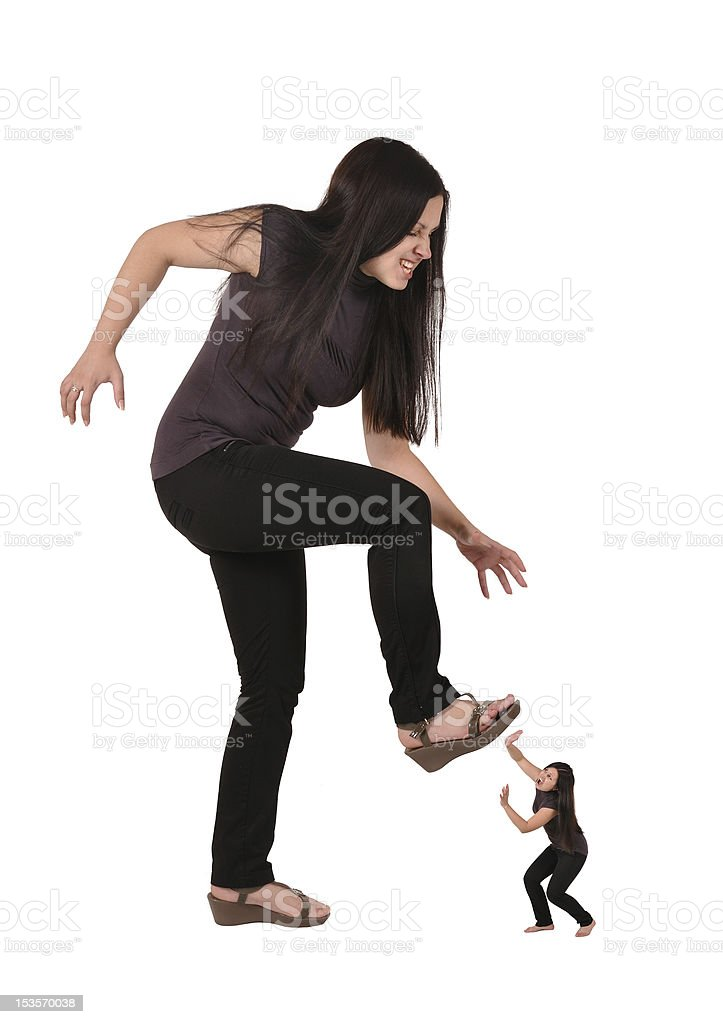 girl trampled stock photo