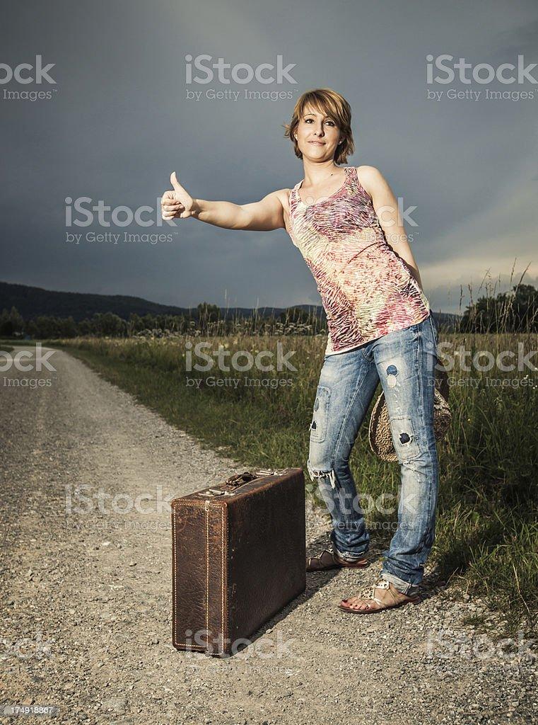 Girl traveling stock photo