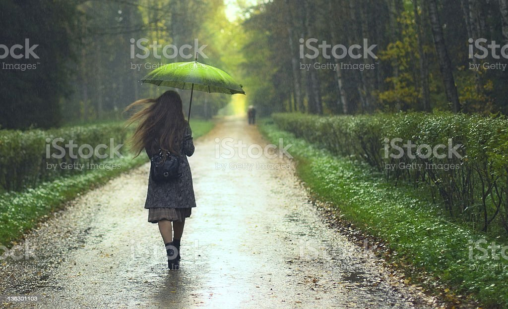 Girl under Rain stock photo