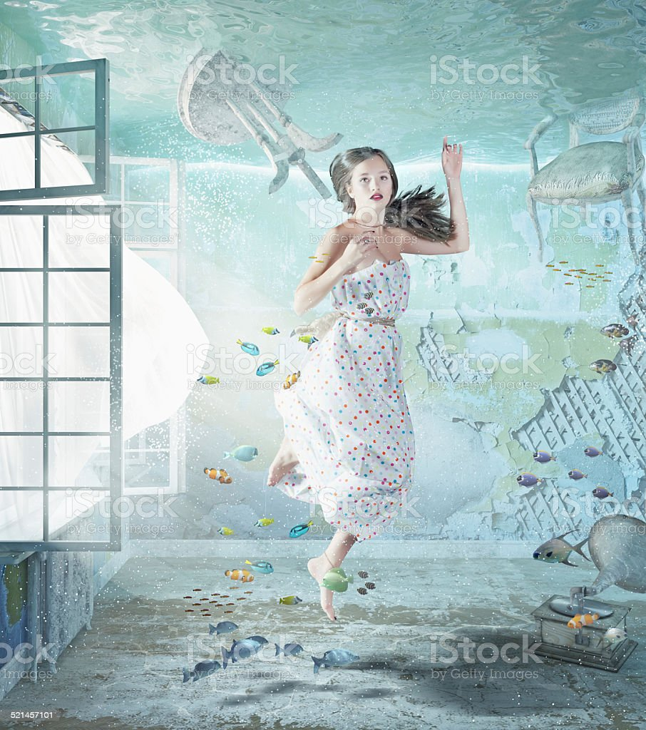 girl underwater stock photo
