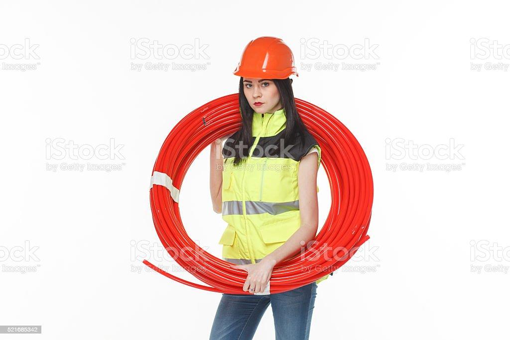 girl uniform coil pipe stock photo