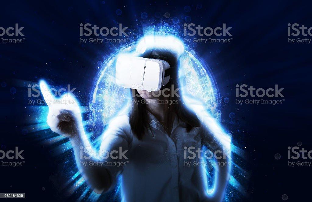 Girl Using VR Headset stock photo