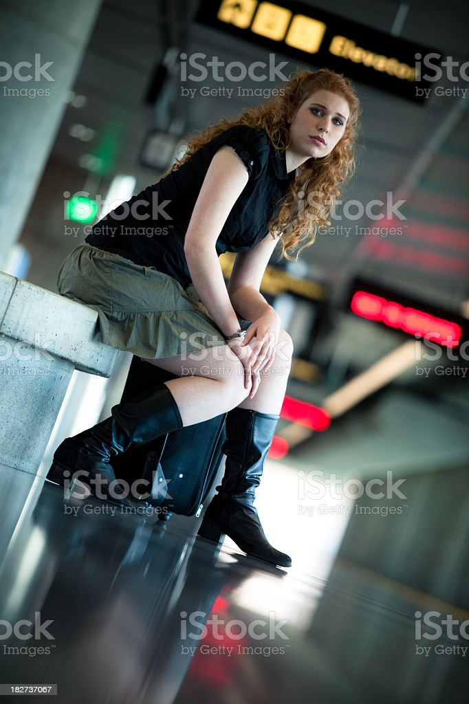 Girl Waiting for a BART Train royalty-free stock photo