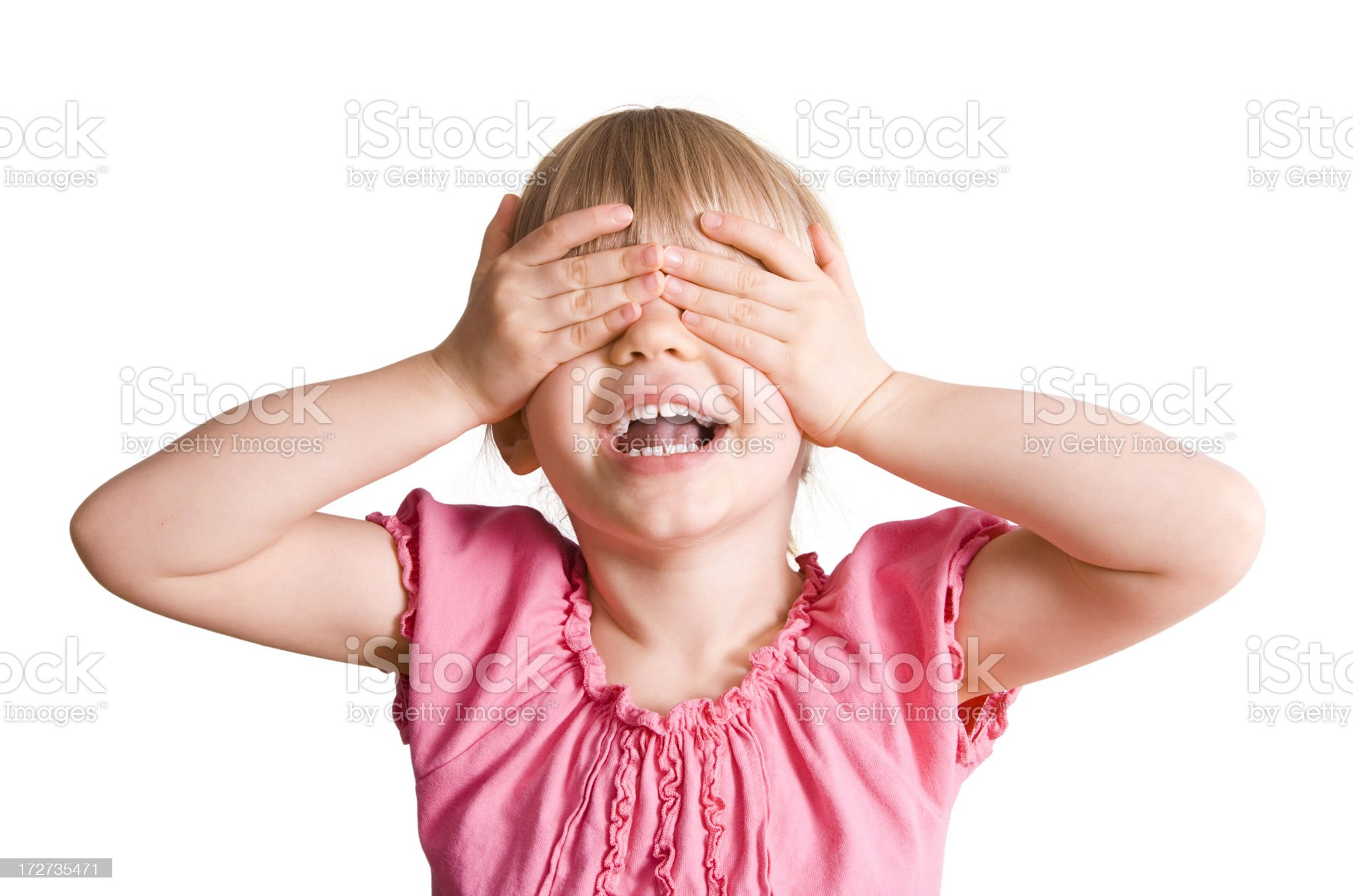 Girl waiting for a surprise royalty-free stock photo