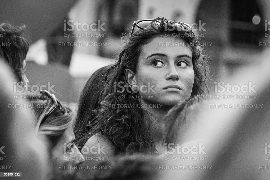 Girl waiting for celebrities to appear at Venice Film Festival stock photo