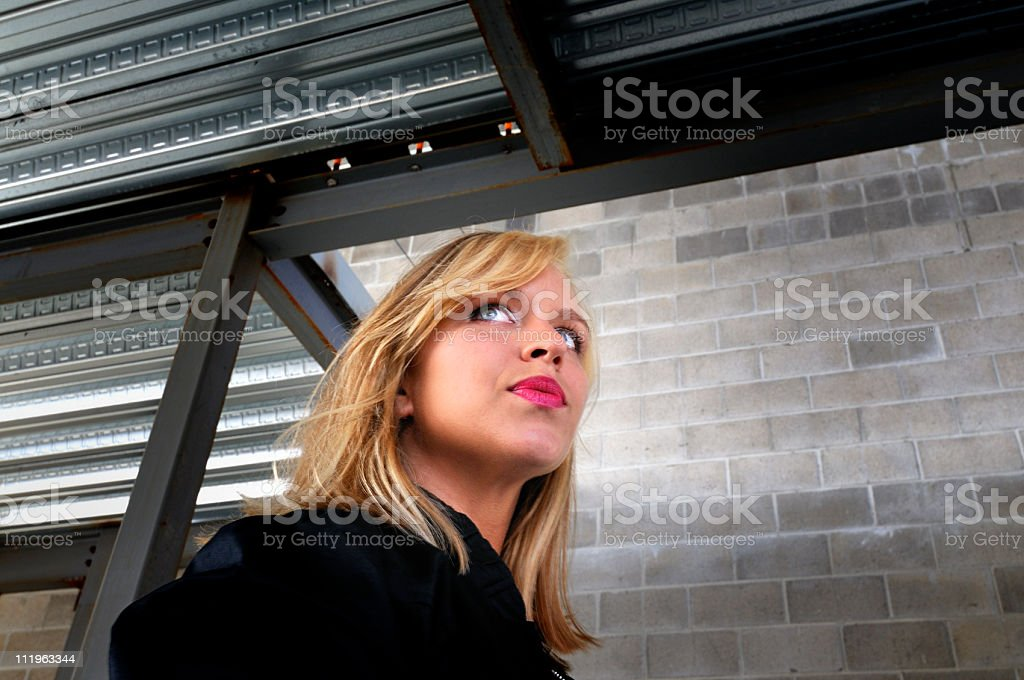Girl Waiting for Late Friend / Boyfriend stock photo