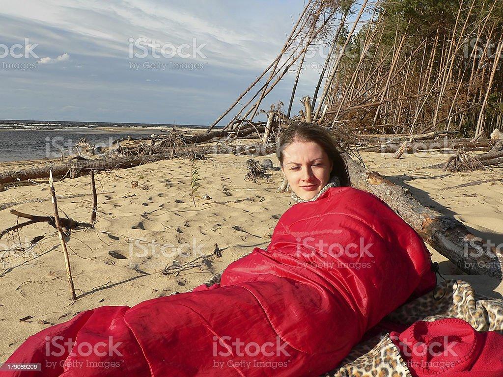 Girl wake up stock photo
