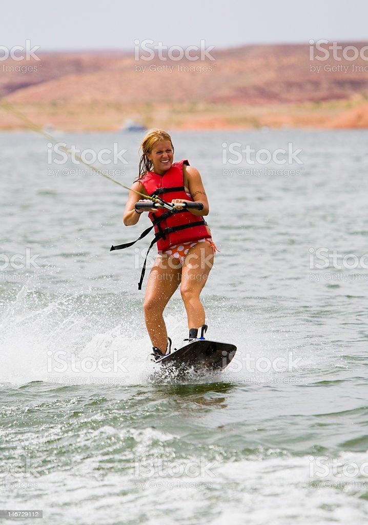 Girl Wakeboarding royalty-free stock photo
