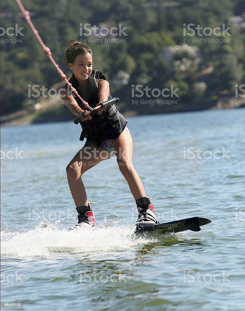 Girl Wakeboarding stock photo