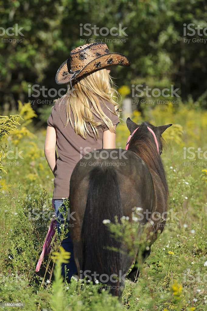 Girl Walking Horse in Summer Goldenrod Field, Rear View royalty-free stock photo