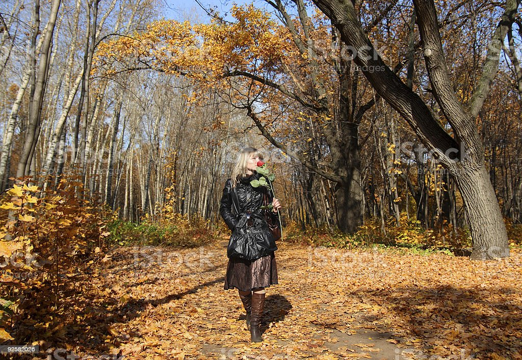 girl walking in autumn park alley royalty-free stock photo