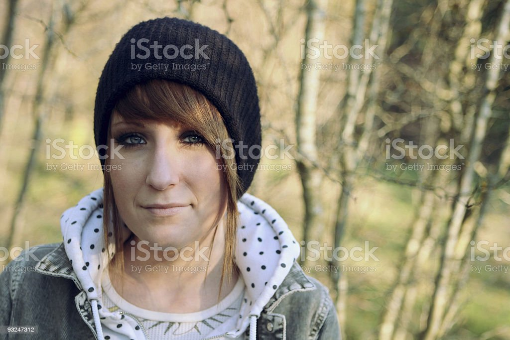 Girl Walking in Forest 2 stock photo