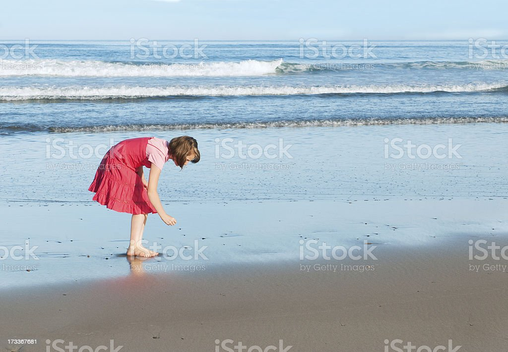 Girl Walking on the Beach Looking for Shells royalty-free stock photo