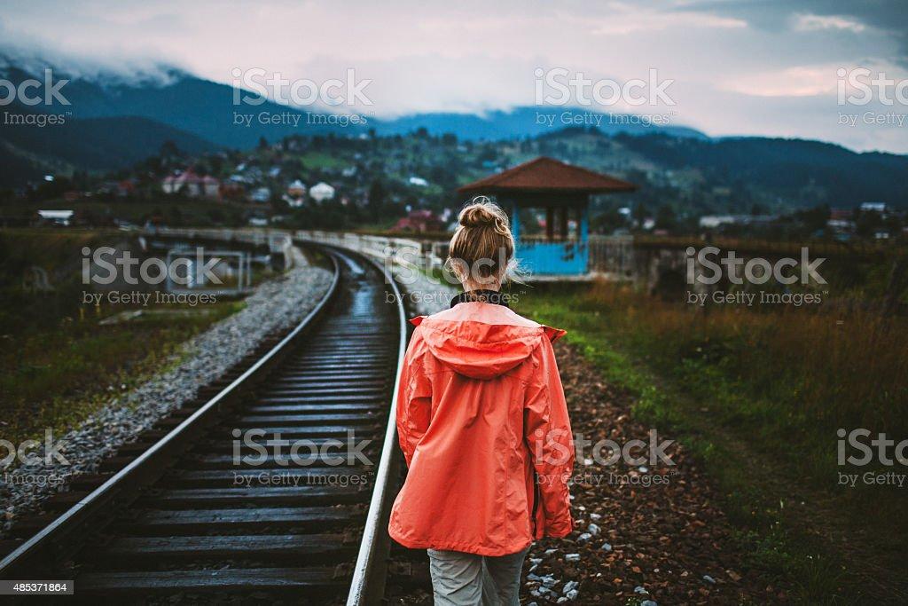 Girl walking stock photo
